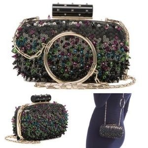 Valentino Embellished Minaudiere Beaded Clutch NEW